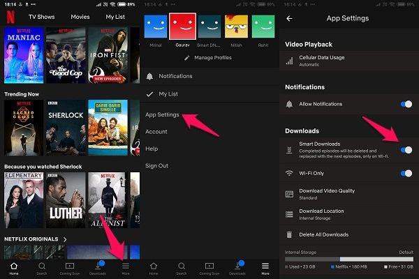 android netflix smart downloads
