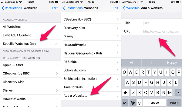 iphone whitelist websites