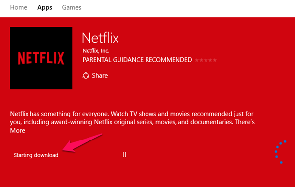 windows 10 store netflix