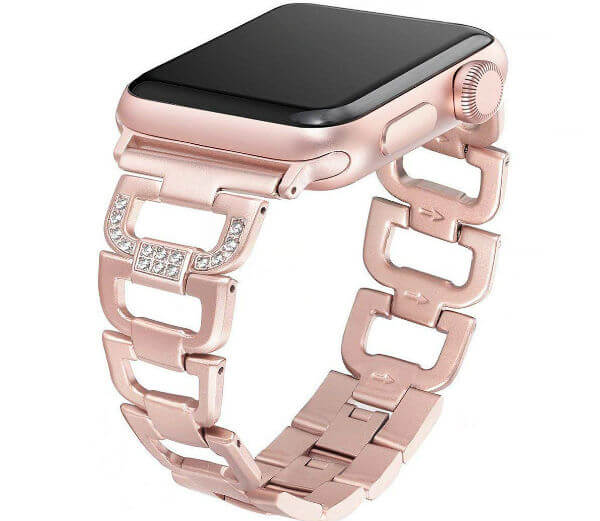 Apple Diamond Rhinestone Stainless Steel Band