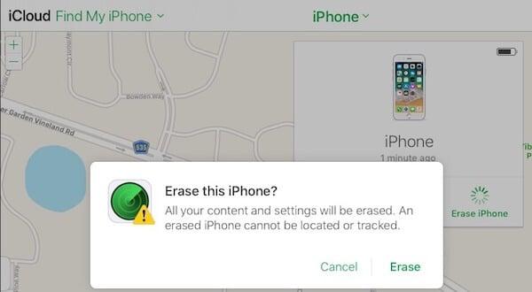 iCloud iPhone Erase