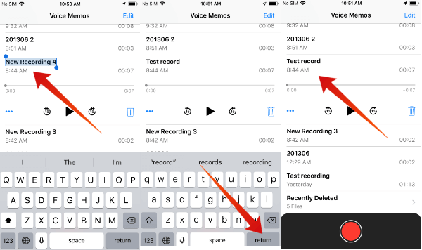 iPhojne rename voice memo