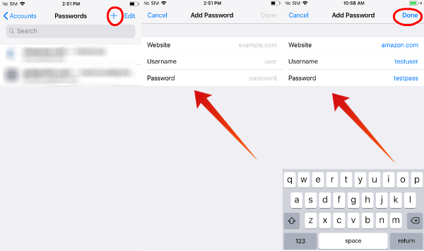 iPhone add autofill password