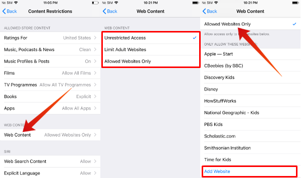 iPhone allow listed websites only