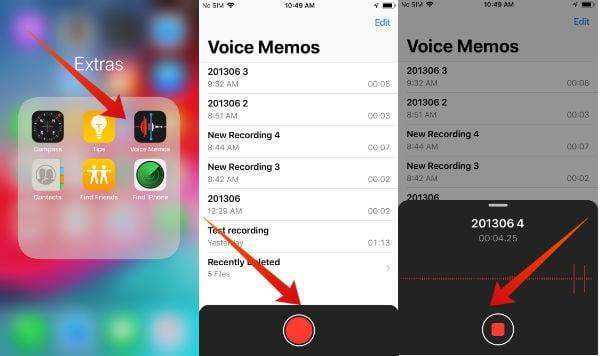 iPhone record voice memo