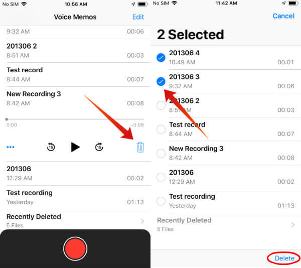 iphone delete voice memo