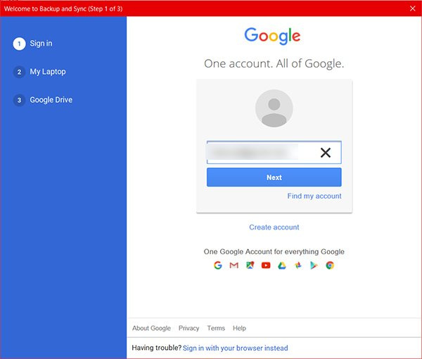 Add Account in Google Drive Backup and Sync on Windows