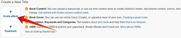 Create new eBook in Amazon Kindle