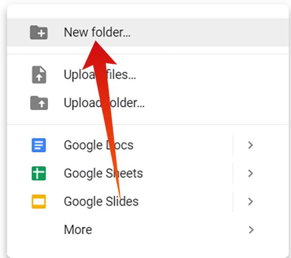 Create new folder in Google Drive