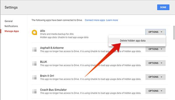 Delete hidden App data from Google Drive