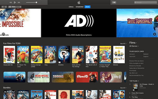 Download Movies on Mac using iTunes