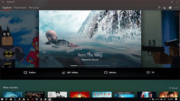 Download Movies on Windows using Movies and TV