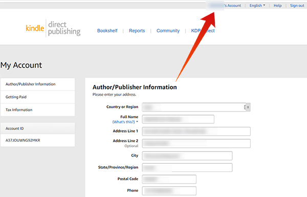 Provide Author information in Amazon KDP