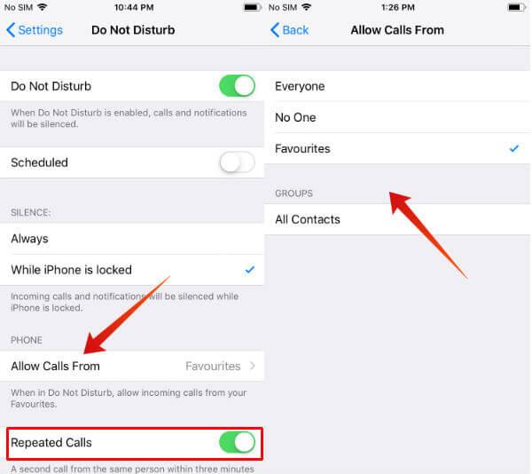 iPhone DND allow calls