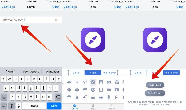 iphone customize shortcut
