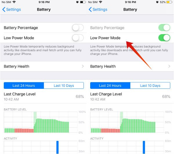 iphone save battery low power mode