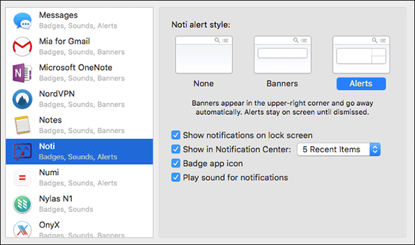 Noti Notifications Settings