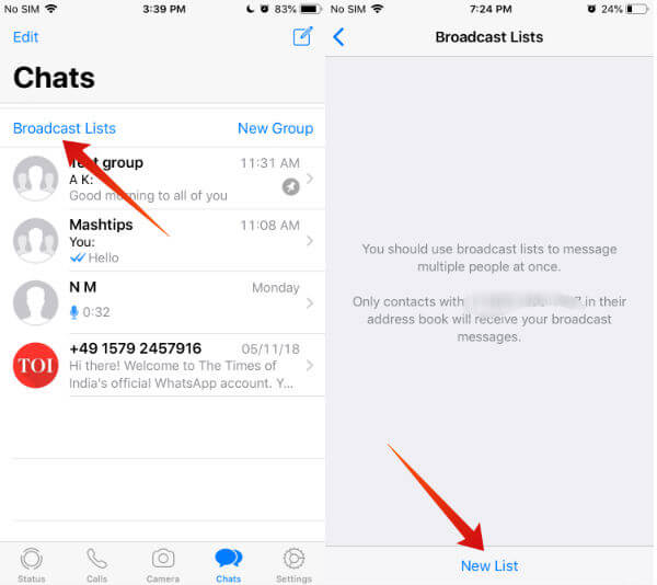 iphone whatsapp broadcast list