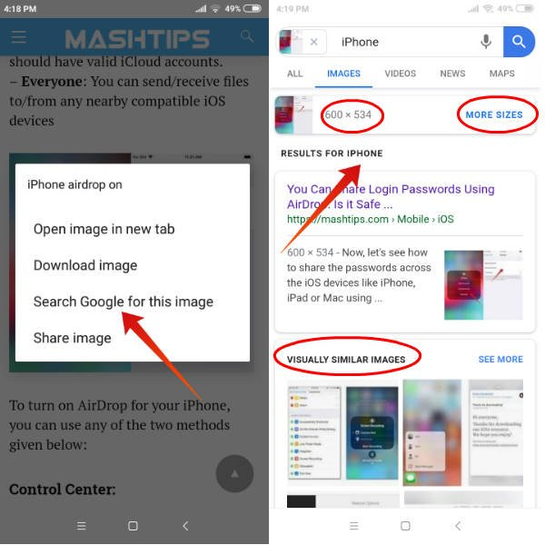 Andriod reverse image search google