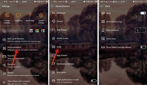 Screenshots showing Dock Settings Microsoft Launcher