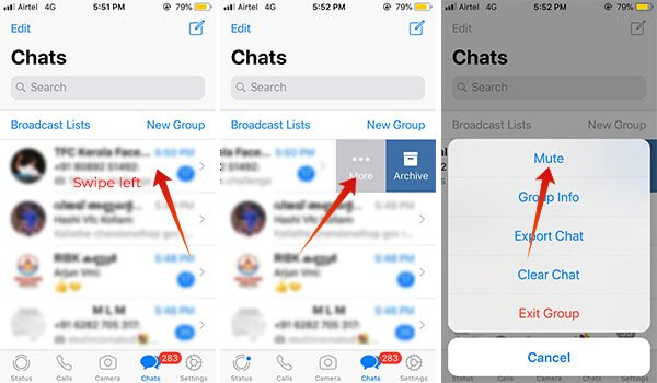 Steps to How to Mute a WhatsApp Group Messages on iPhone