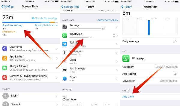 iPhone Lock WhatsApp using App Limit