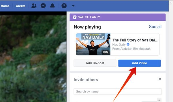 Screenshot of Adding a new video to the Watch Party on Facebook