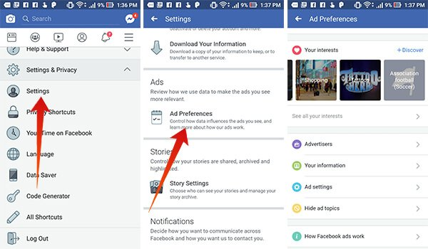 Change Facebook Ad Preferences on Android