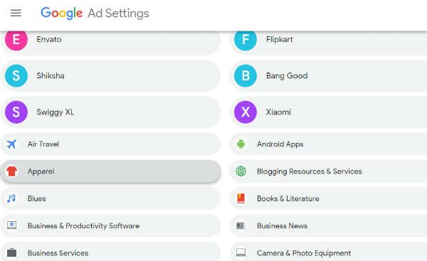 Change Ad preferences from Google