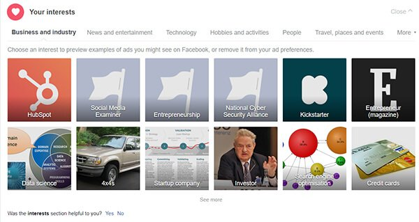 Your Interest Section on Facebook Ad Settings