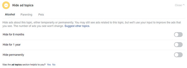 Window to Hide Explicit Ad Topics
