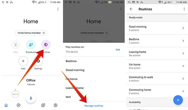 Routines on Google Home within Home app on Android
