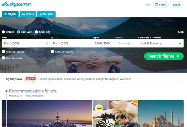 Skyscanner Website for Flight Tickets