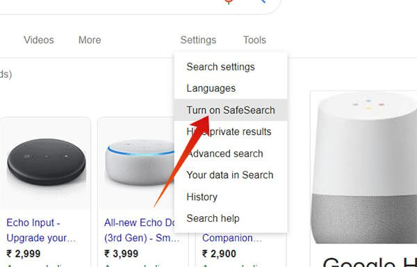 Turn on Google SafeSearch from Search Results page