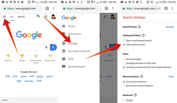 Turn on SafeSearch Mode from Google Chrome on Android