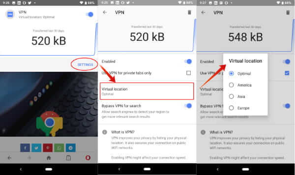Use Opera VPN on Android