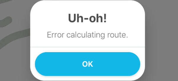 Waze Error Calculating Route Error