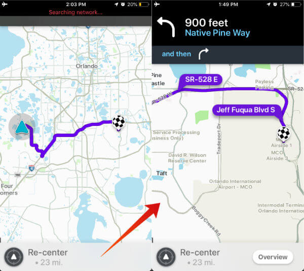 Waze Offline Map Route iPhone
