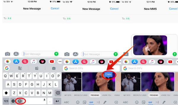 iPhone send GIF on iMessage Gboard
