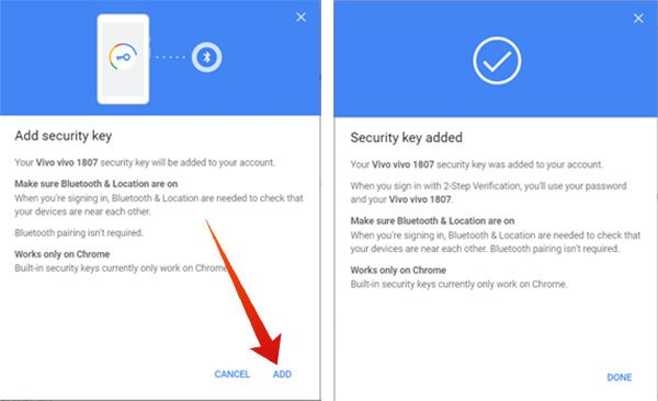 Add Smartphone as Security Key on Google Account