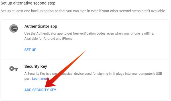 Click Add Security Key on Google 2SV