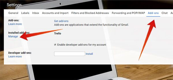 Click Manage from Gmail Settings