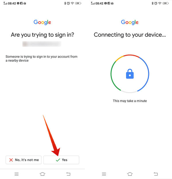 Confirm Sign in to Google From your Android smartphone