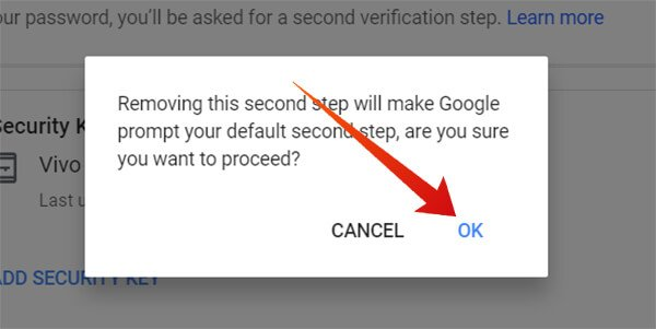 Confirm to Remove Android Security Key device