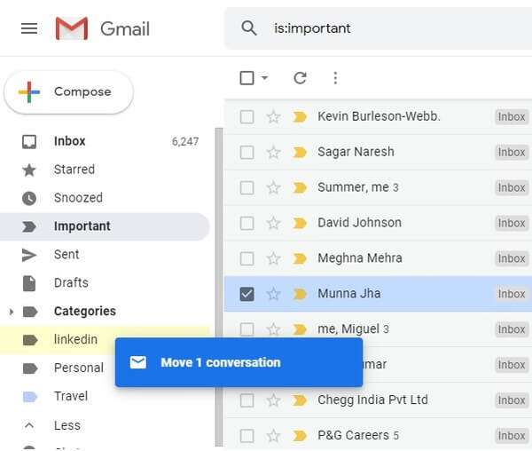 Easily drag and drop mails between different categories