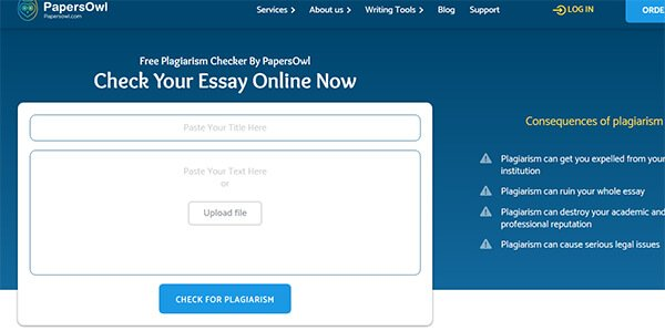 Enter Title and Body Content on PapersOwl Free Plagiarism Checker for Students