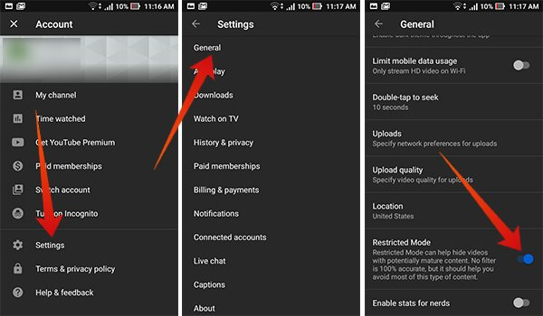 How to turn on restricted mode on Youtube on Android