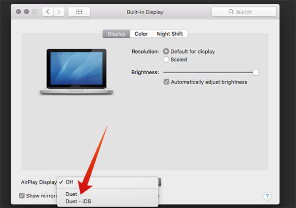 Mac Display Preferences Choose Duet iPad
