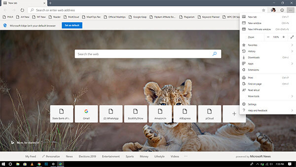 Microsoft Edge with Chromium Engine on Windows 10 PC 1809