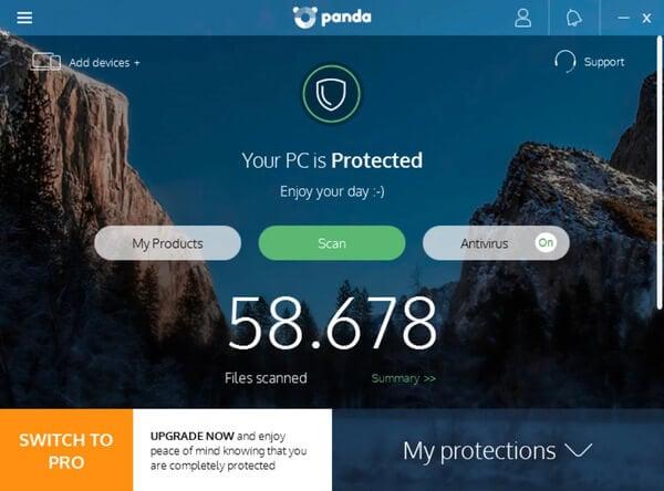 Panda lightweight antivirus